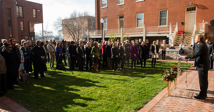 Georgetown community gathers during 2015 renaming of Mulledy and McSherry halls as Freedom and Remembrance Halls