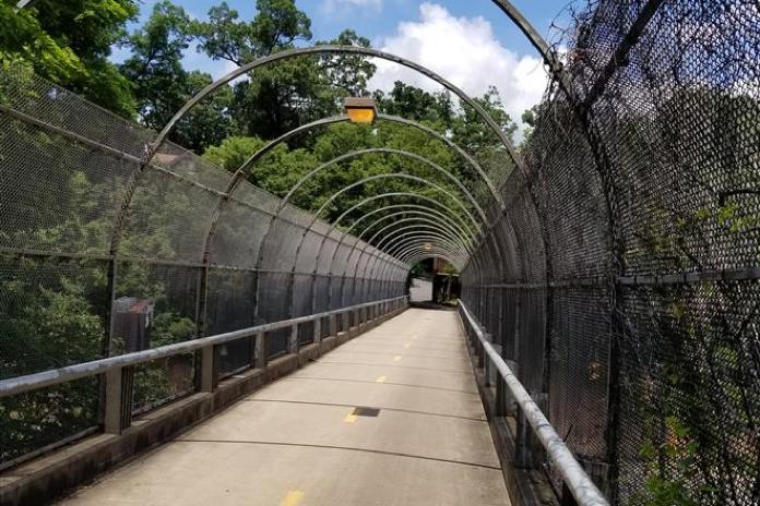 A running path across a bridge.