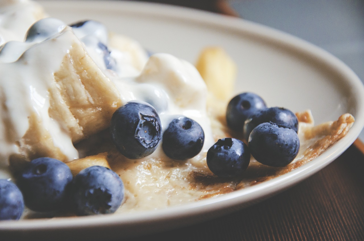 Close-up of pancakes and fruit