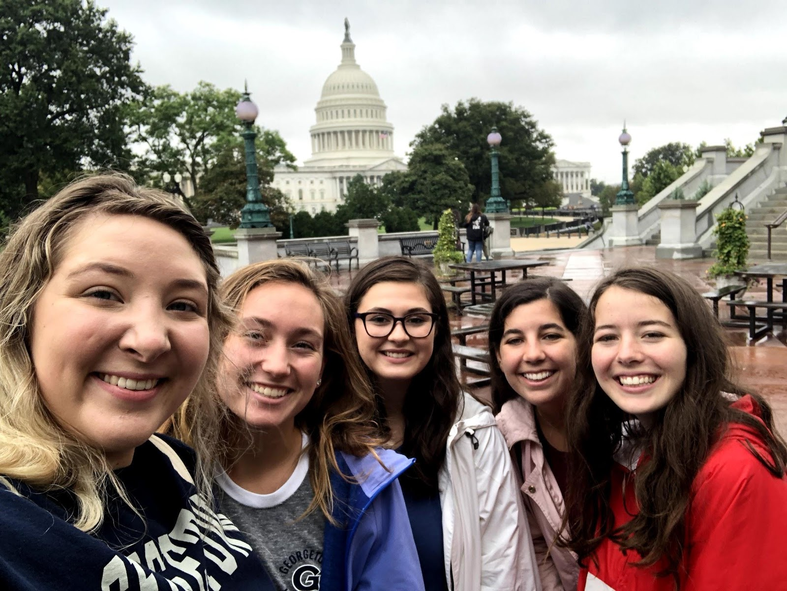 A group of students smile at the camera on Capitol Hill