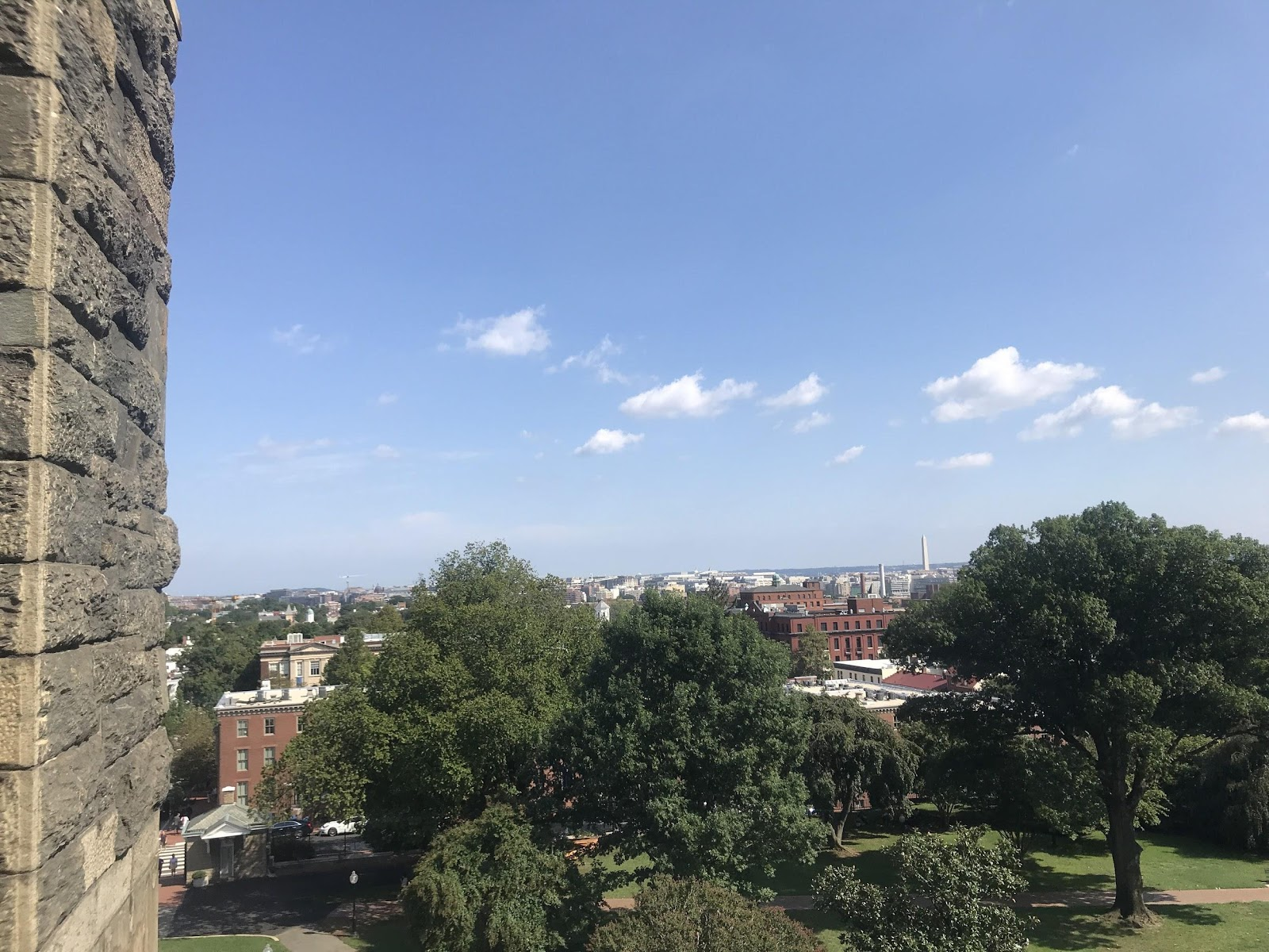 View of the neighborhood from Healy Clock Tower