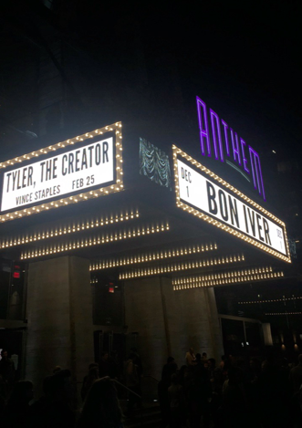 The Anthem Theater marquee announces Tyler the Creator and Bon Iver performing