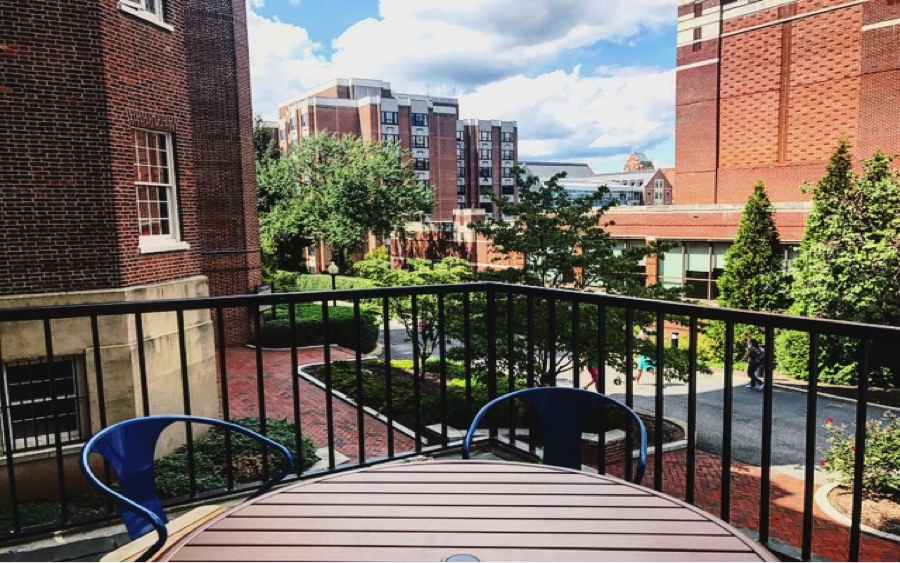 A table sits on the terrace of Old North