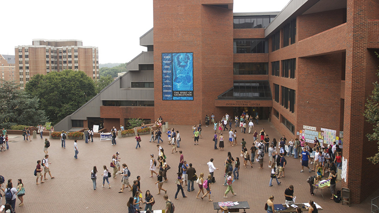 The Intercultural Center seen from above with students milling about