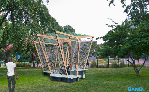A photo of a modern sukkah on Healy Lawn.