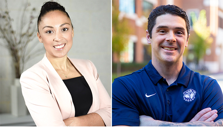 Jennifer Esparza and Sean Cooke stand in side-by-side photos with their arms folded.